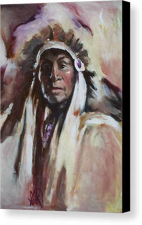 Native American Canvas Print featuring the painting Chief 1 by Elizabeth Silk