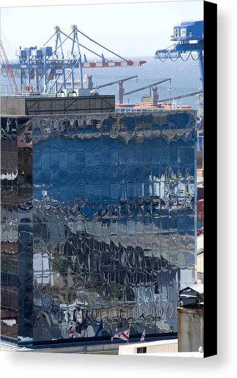 Valparaiso Chile Canvas Print featuring the photograph Chile Harbor Reflections by Charles Ridgway