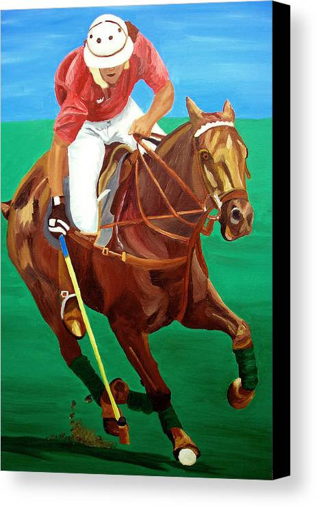Polo Canvas Print featuring the painting Chukar by Michael Lee