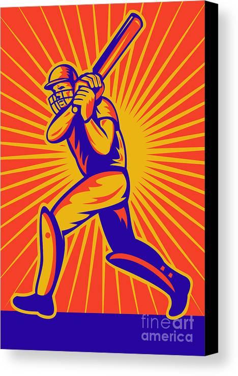 Cricket Canvas Print featuring the digital art Cricket Sports Batsman Batting by Aloysius Patrimonio