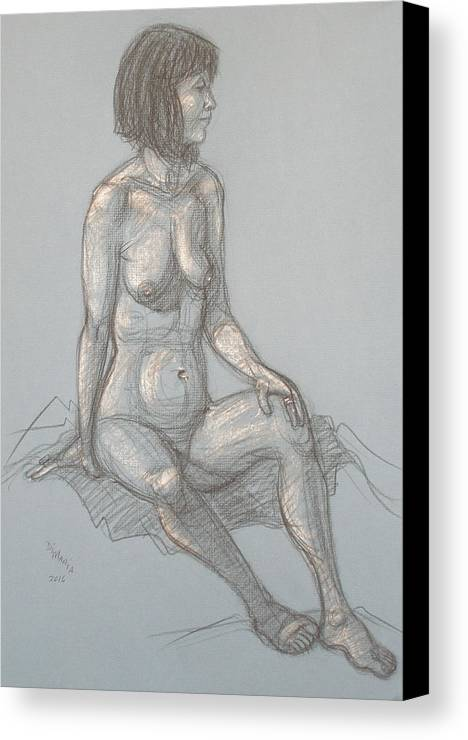 Realism Canvas Print featuring the drawing Cynthia Seated From Side by Donelli DiMaria
