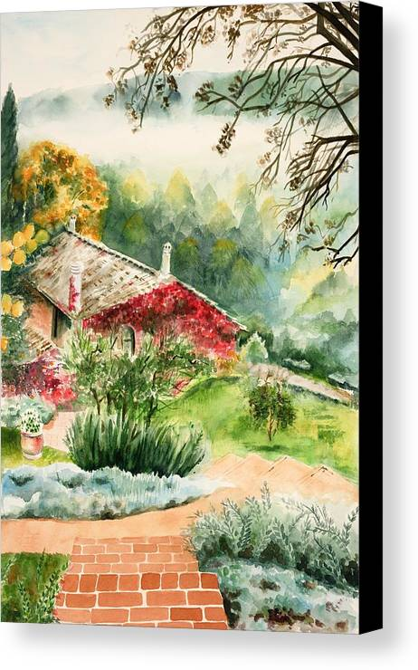 View Of Pathway To Red Cottage And Mountains In Mist Canvas Print featuring the painting Dievole Vineyard In Tuscany by Judy Swerlick