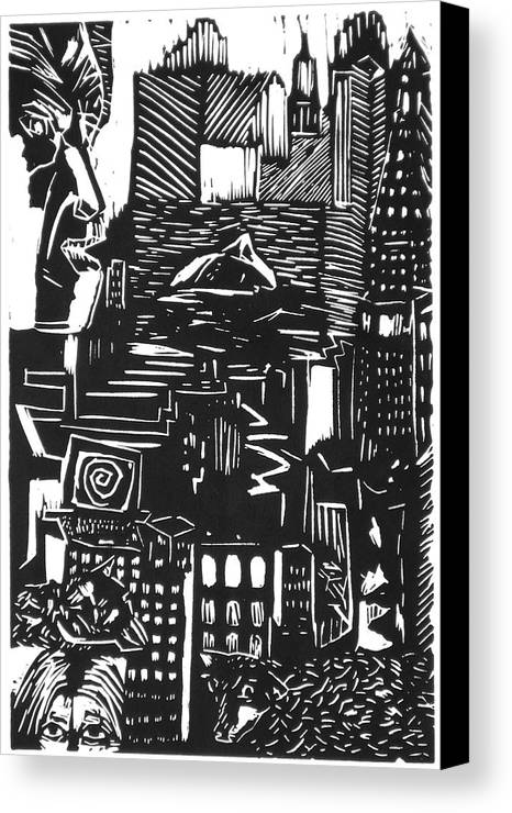 Apocalypse Buildings City Drown Lino Metropolis People Print Sheep Darkestartist Darkest Artist Black Canvas Print featuring the mixed media Drowning In Metropolis by Darkest Artist
