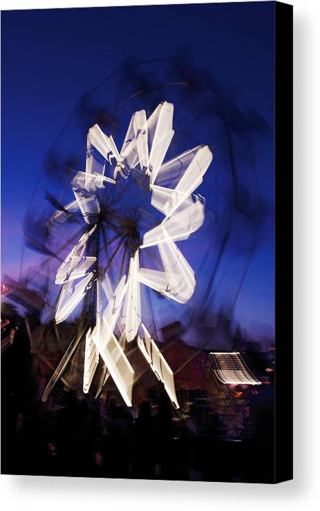 Ferris Wheel Canvas Print featuring the photograph Ferris Wheel At Dusk by Steve Somerville