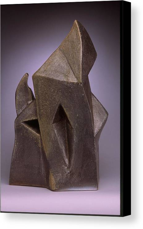 Woodfired Slab Built Stoneware Canvas Print featuring the sculpture Flame Form by Stephen Hawks