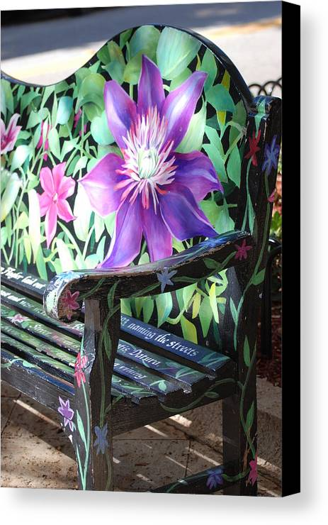 Macro Canvas Print featuring the photograph Flower Bench by Rob Hans