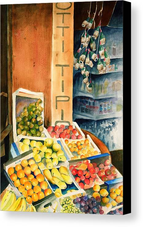 Fruit Shop Window Canvas Print featuring the painting Fruit Shop In San Gimignano by Judy Swerlick