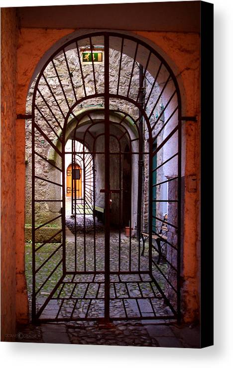 Gate Canvas Print featuring the photograph Gated Passage by Tim Nyberg