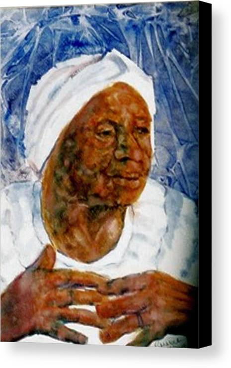 Black Woman Canvas Print featuring the painting Gather Us In by Ruth Mabee