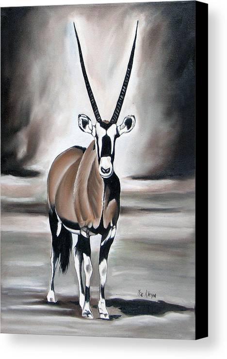 Gemsbok Canvas Print featuring the painting Gemsbok - Solitude by Ilse Kleyn