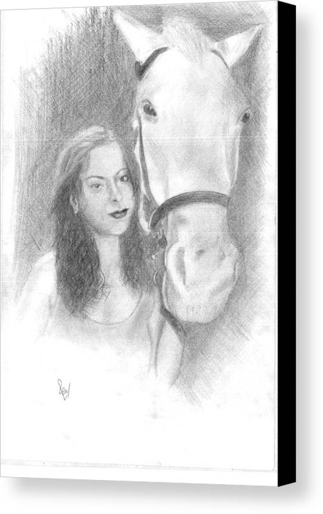 Horse Canvas Print featuring the drawing Girl And Horse by Reza Naqvi