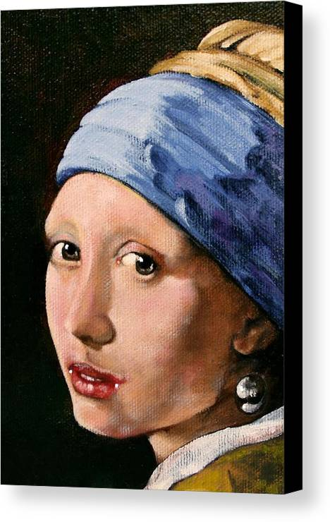 Portrait Canvas Print featuring the painting Girl With A Pearl Earring A Reproduction Of Vermeer by Joan Garcia