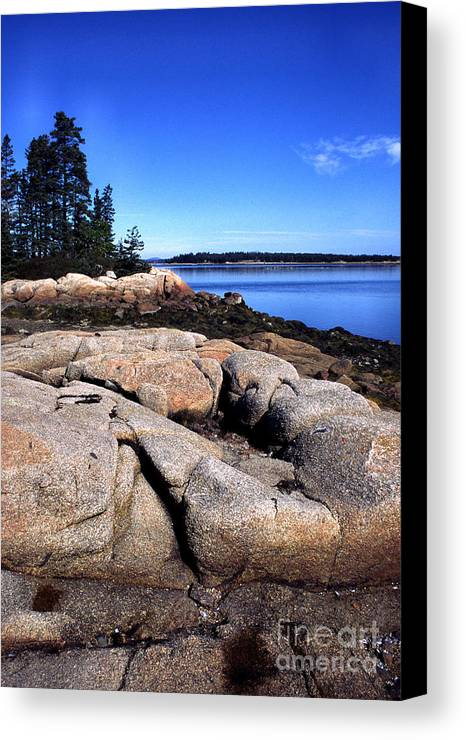 Deer Isle Canvas Print featuring the photograph Granite Shoreline Deer Isle Maine by Thomas R Fletcher