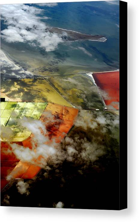 Photo From Airplane Canvas Print featuring the photograph Great Salt Lake From The Air by Gregory Colvin
