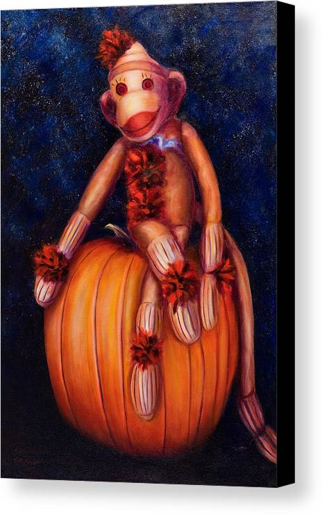 Pumpkin Canvas Print featuring the painting Halloween by Shannon Grissom