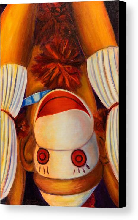 Children Canvas Print featuring the painting Head-over-heels by Shannon Grissom
