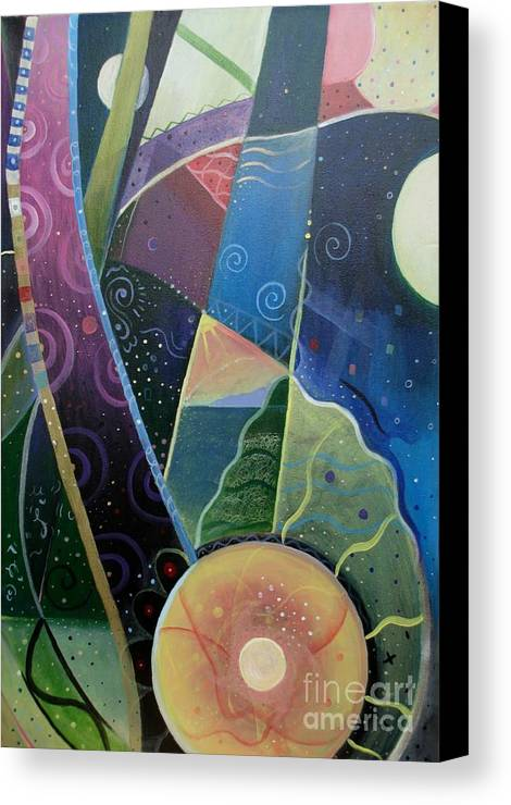 Multi-dimensional Canvas Print featuring the painting Here And There by Helena Tiainen