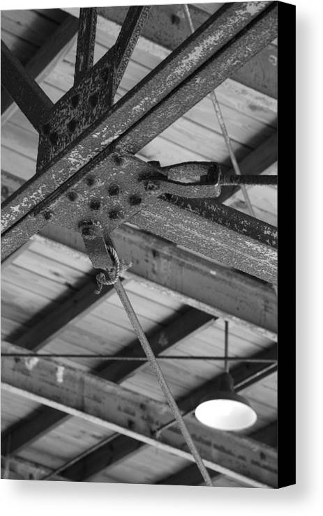 Black And White Canvas Print featuring the photograph Iron Roof by Rob Hans