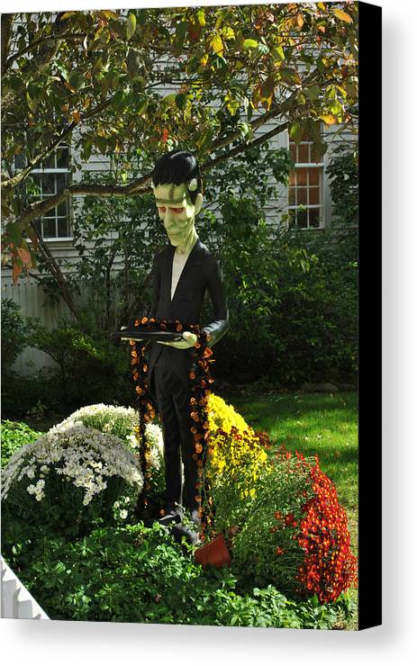 Frankenstein Canvas Print featuring the photograph It's Frank At Your Service by Laura DAddona
