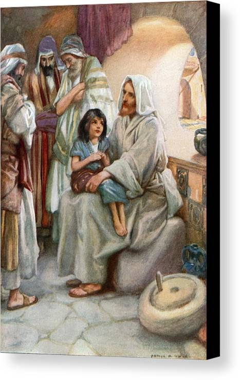 Bible; Biblical; Stories; Jesus; Teaching; People Canvas Print featuring the painting Jesus Teaching The People by Arthur A Dixon
