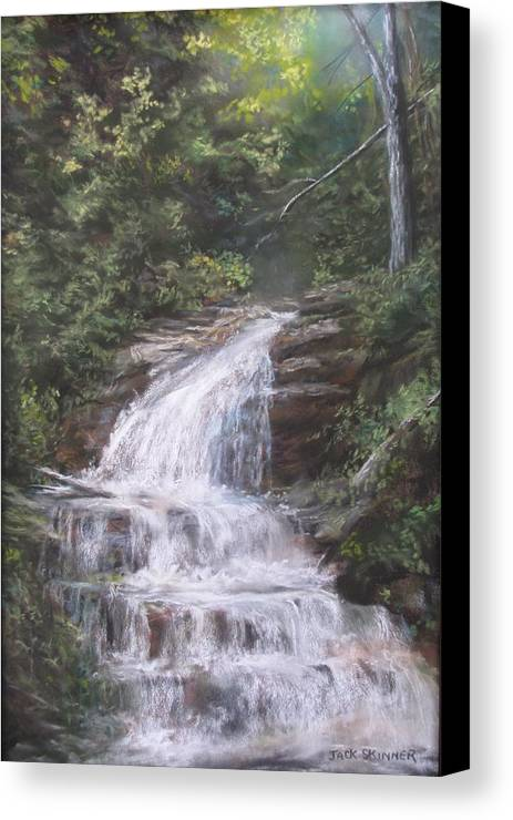 Waterfall Canvas Print featuring the pastel Kent Falls by Jack Skinner
