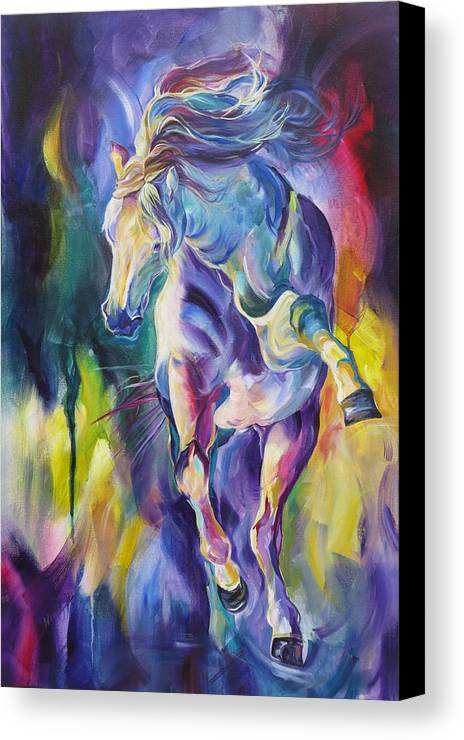 Horse Canvas Print featuring the painting Life Can Never Be Too Much Fun by Wendy Ike