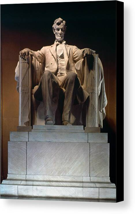 19th Century Canvas Print featuring the photograph Lincoln Memorial: Statue by Granger