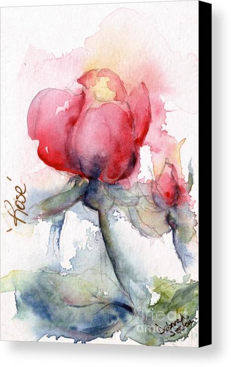 Watercolor Canvas Print featuring the painting Linda's Rose Watercolor by CheyAnne Sexton