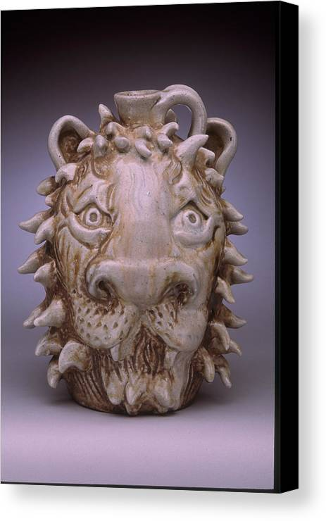 Face Jug Canvas Print featuring the ceramic art Lion Face Jug by Stephen Hawks