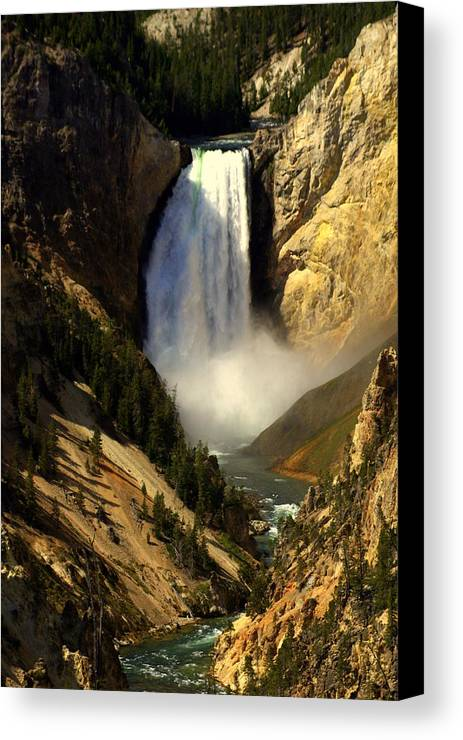 Yellowstone National Park Canvas Print featuring the photograph Lower Falls 2 by Marty Koch
