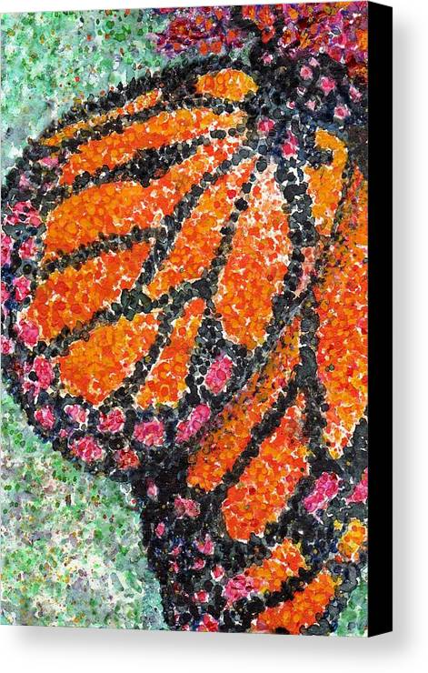 Watercolor Canvas Print featuring the painting Monarch Butterfly On Ocotillo Blossom by Cynthia Ann Swan