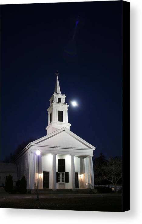 Church Canvas Print featuring the photograph Moonlit Church by Jeff Porter