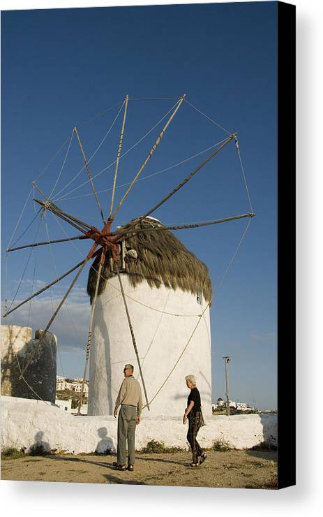 Mykonos Canvas Print featuring the photograph Mykonos Icon Windmill by Charles Ridgway