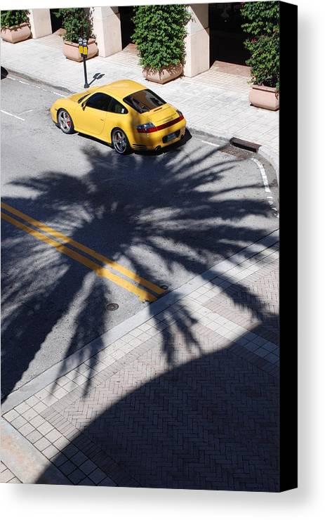 Porsche Canvas Print featuring the photograph Palm Porsche by Rob Hans