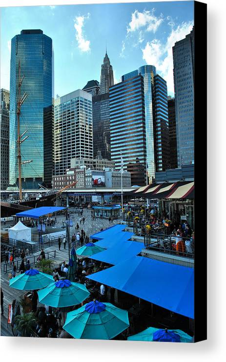 New York City Canvas Print featuring the photograph Pier 17 Blue Tops by Laura DAddona