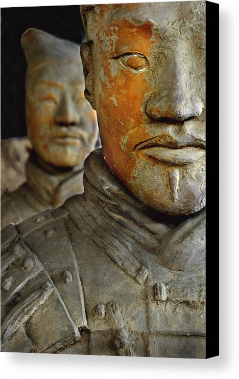 People's Republic Of China Canvas Print featuring the photograph Pigment Remains On 2,200 Year Old Terra by O. Louis Mazzatenta