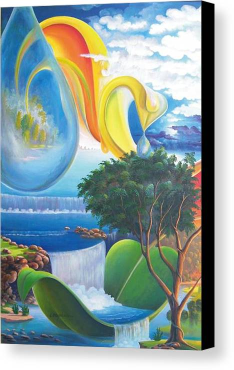 Surrealism - Landscape Canvas Print featuring the painting Planet Water - Leomariano by Leomariano artist BRASIL
