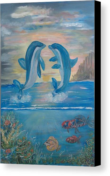Original Canvas Print featuring the painting Playful Dolphins by Mikki Alhart