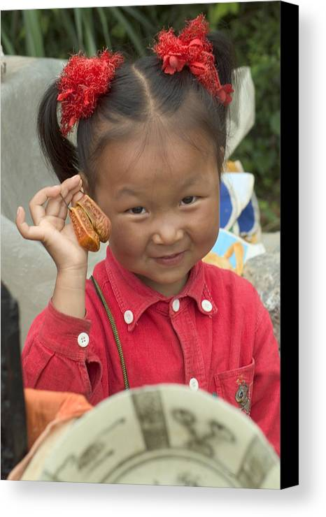 Chinese Girl Canvas Print featuring the photograph Please Buy My Shoes by Charles Ridgway