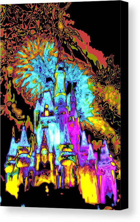 Cincerella Caste. Canvas Print featuring the digital art Popart Castle by Charles Ridgway