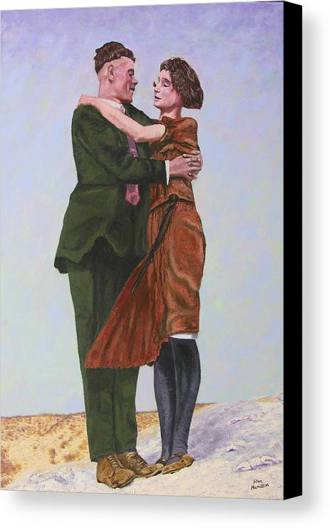 Double Portrait Canvas Print featuring the painting Ray And Isabel by Stan Hamilton