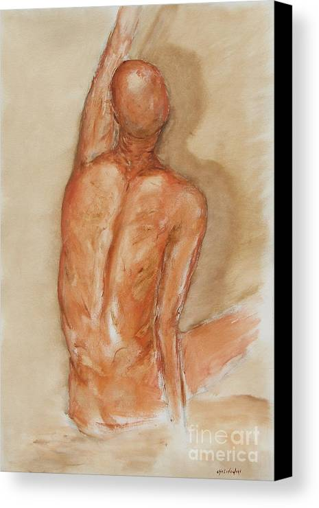 Figure Canvas Print featuring the painting Reach Higher by Miroslaw Chelchowski