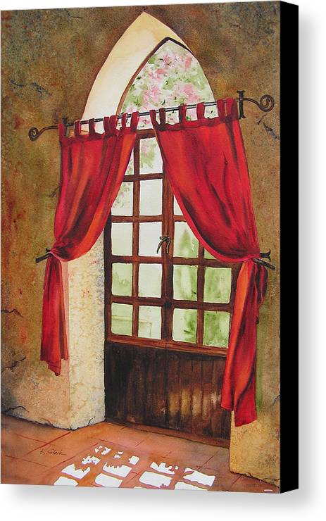 Curtain Canvas Print featuring the painting Red Curtain by Karen Stark