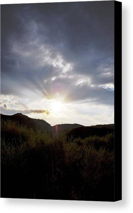 Sky Canvas Print featuring the photograph Red Rock Canyon Afternoon Sun by Matt Harang