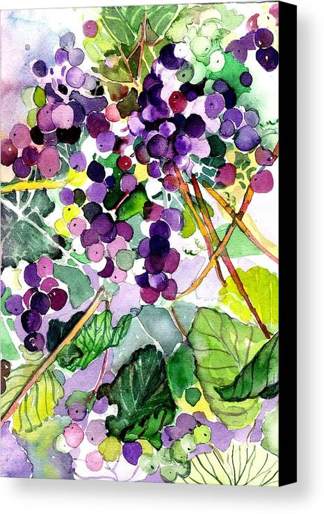 Wine Canvas Print featuring the painting Roman Grapes by Mindy Newman