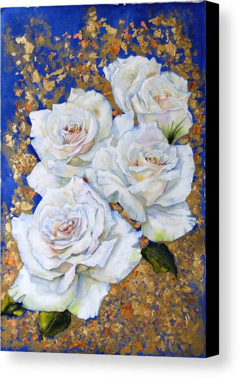 Rose Canvas Print featuring the painting Roses With Gold Leaf by Diane Ziemski