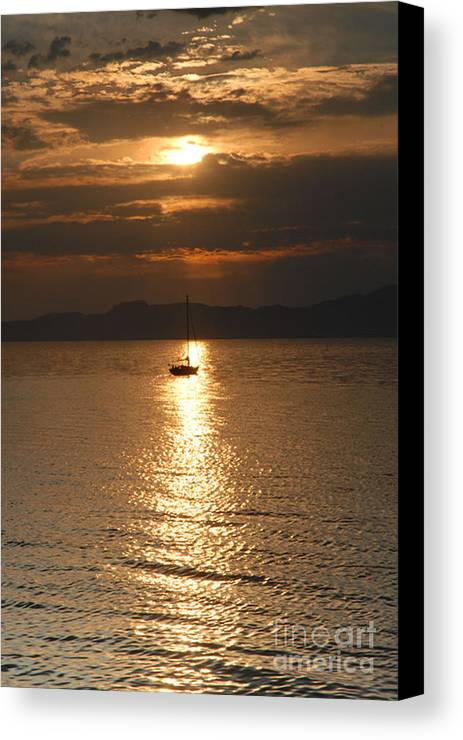 Great Salt Lake Canvas Print featuring the photograph Sailing The Great Salt Lake At Sunset by Dennis Hammer
