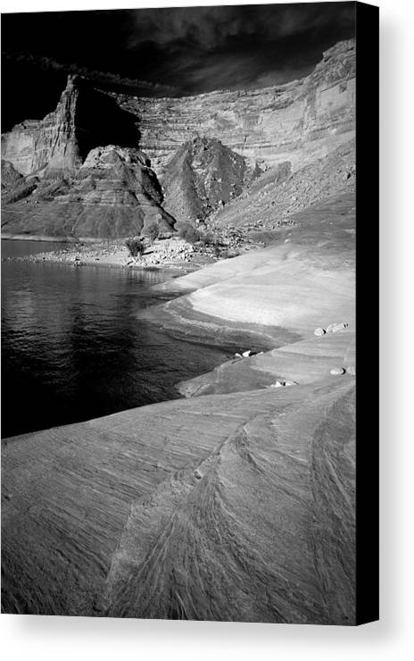 Photography Canvas Print featuring the photograph Sandstone Shoreline And Cliffs Lake Powell by Tom Fant