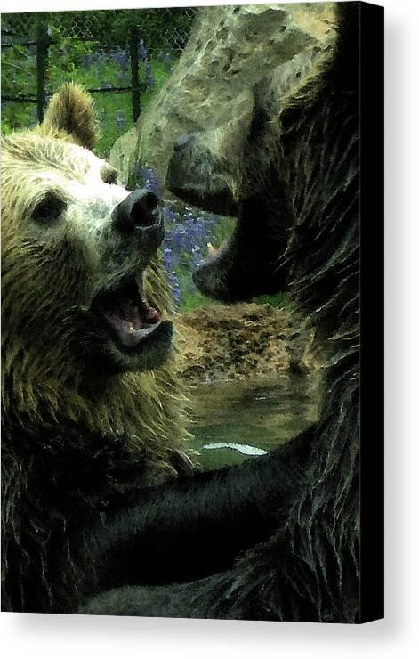Bears Canvas Print featuring the digital art Silly Bears by Holly Ethan
