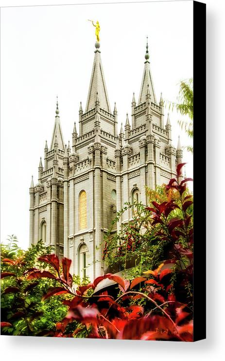 Canvas Print featuring the photograph Slc Temple Angle by La Rae Roberts